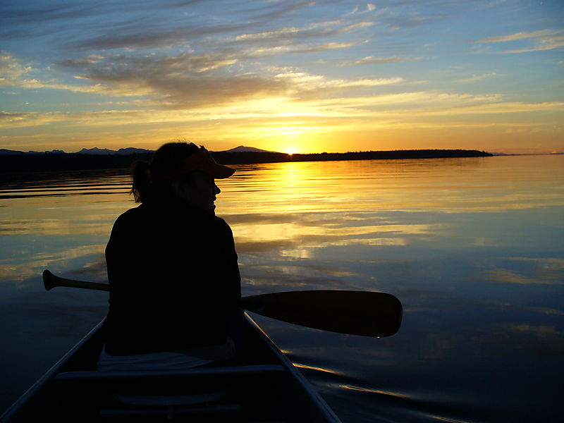 Canada sunset me in canoe