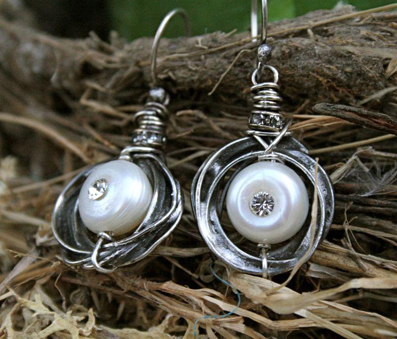 Pearl and Rhinestone Nest Earrings