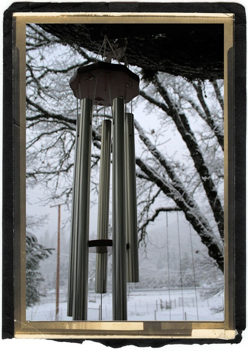 Windchimes and snow