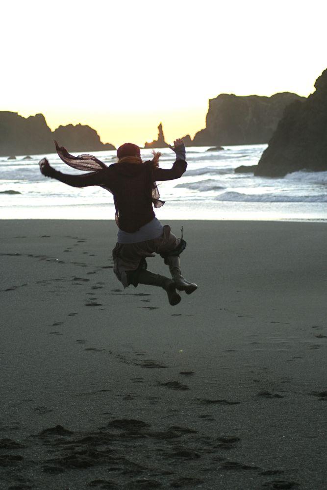 Heel kicks on beach