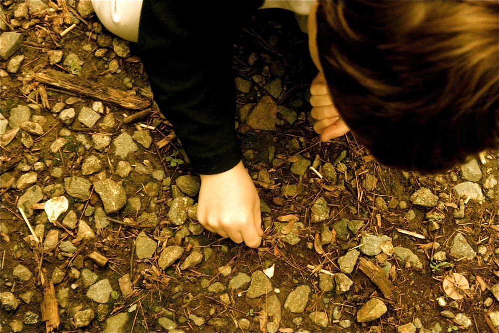 Jade picking up rocks