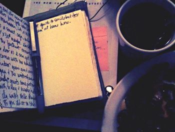 Journal with tea and omelet