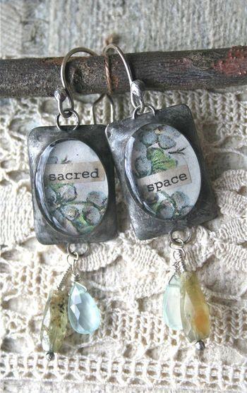 Sacred space bezel earrings