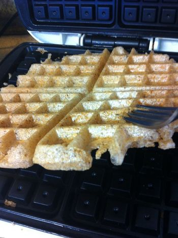 Mochi in the waffle iron