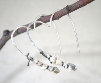Heart earrings steel wrap
